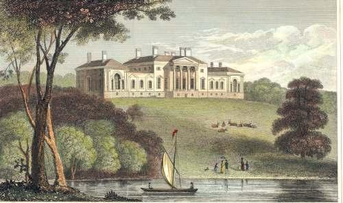 Harewood House in West Yorkshire, in the nineteenth century - the house was built on the wealth generated by plantation and slave ownership in the eighteenth century.